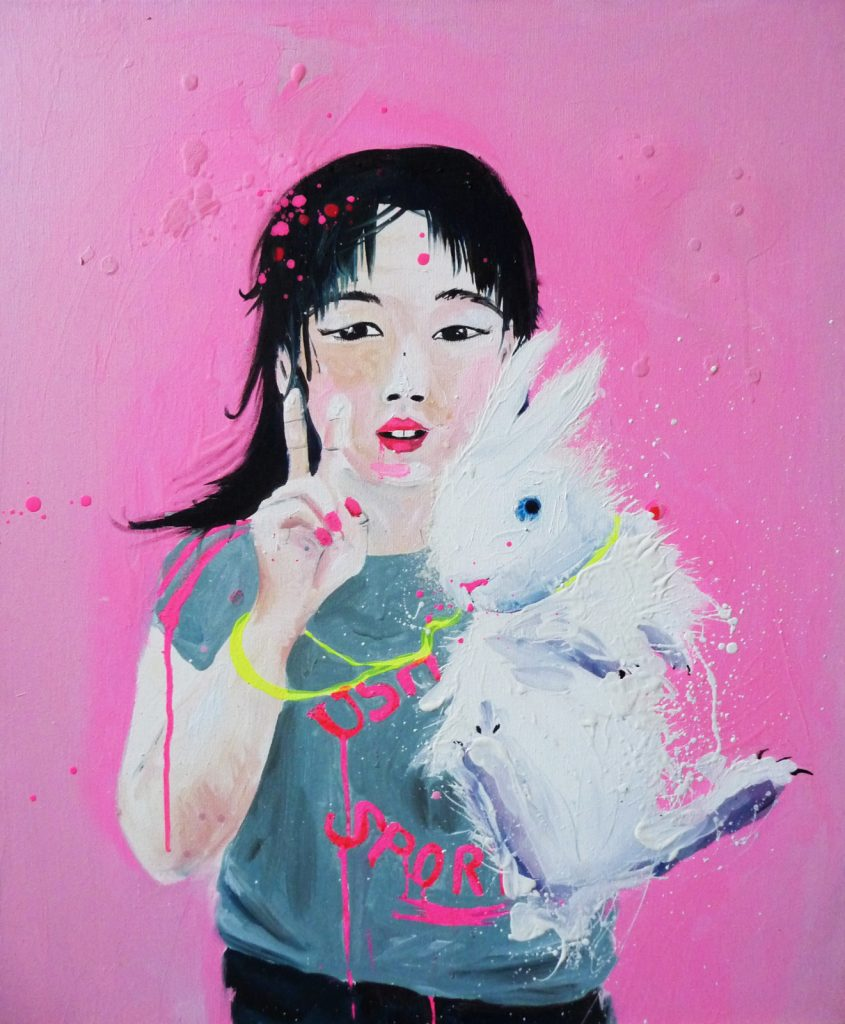 La fille au lapin - Huile sur toile (65x54 cm)